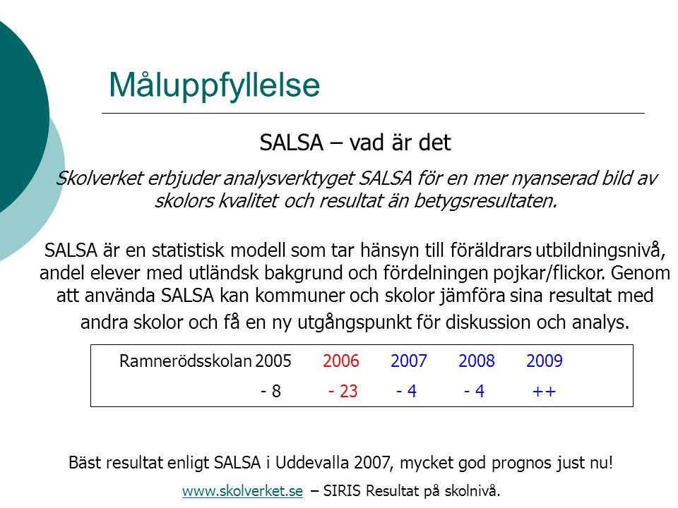 Måluppfyllelse SALSA – vad är det Skolverket erbjuder analysverktyget SALSA för en mer nyanserad bild av skolors kvalitet och resultat än betygsresult
