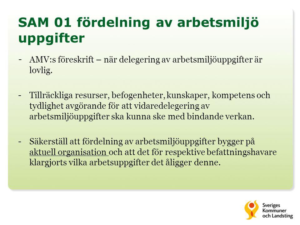 SAM 01 fördelning av arbetsmiljö uppgifter - AMV:s föreskrift – när delegering av arbetsmiljöuppgifter är lovlig.