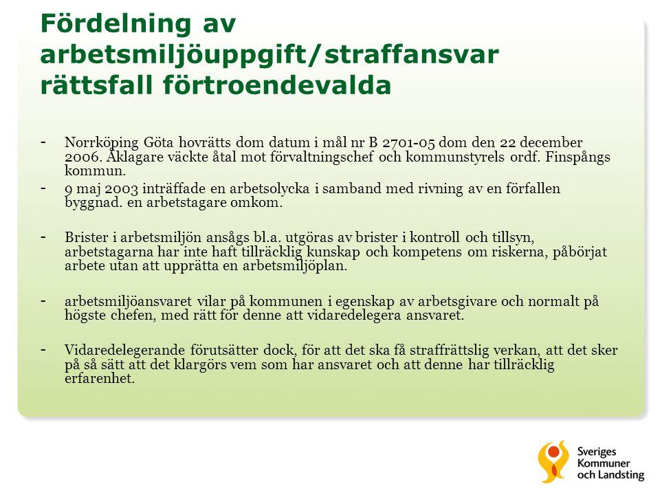 Fördelning av arbetsmiljöuppgift/straffansvar rättsfall förtroendevalda - Norrköping Göta hovrätts dom datum i mål nr B 2701-05 dom den 22 december 2006.