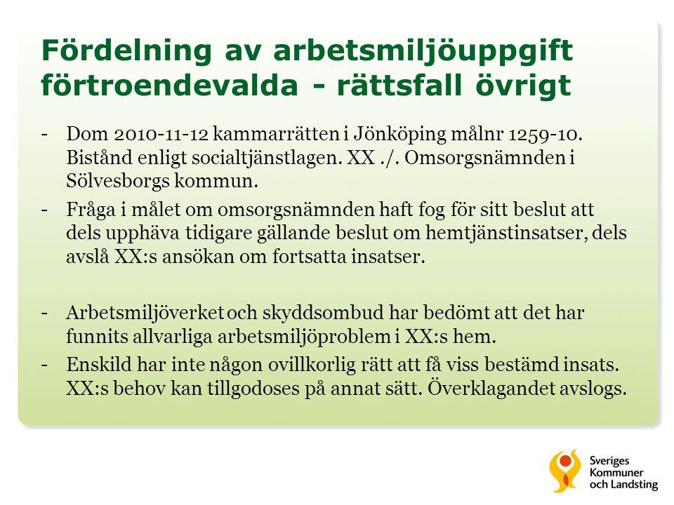 Fördelning av arbetsmiljöuppgift förtroendevalda - rättsfall övrigt -Dom 2010-11-12 kammarrätten i Jönköping målnr 1259-10. Bistånd enligt socialtjäns