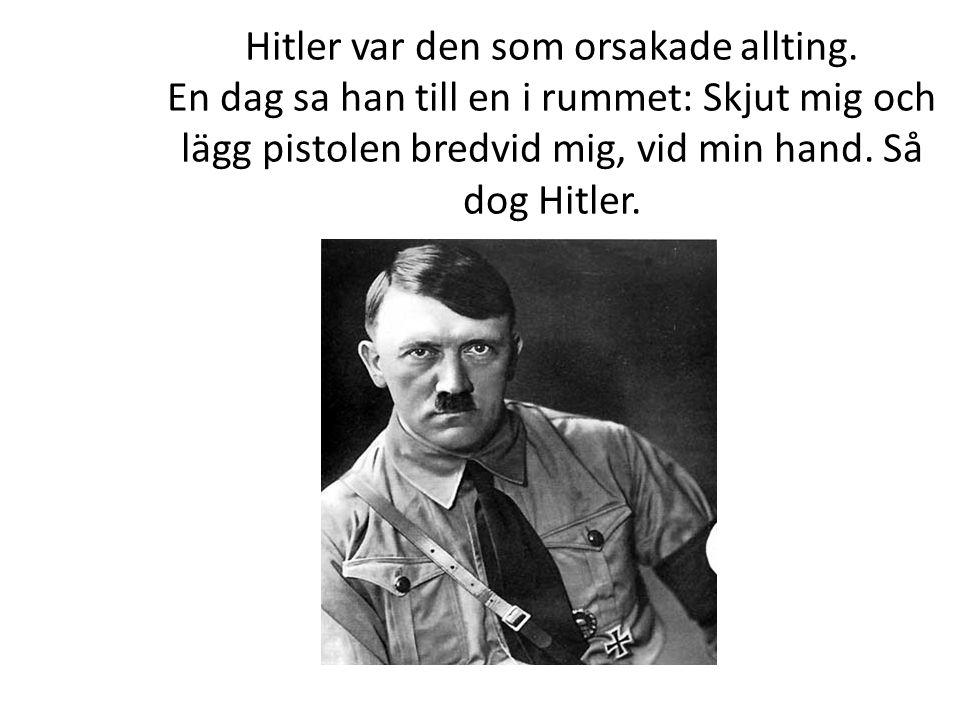 Hitler var den som orsakade allting. En dag sa han till en i rummet: Skjut mig och lägg pistolen bredvid mig, vid min hand. Så dog Hitler.