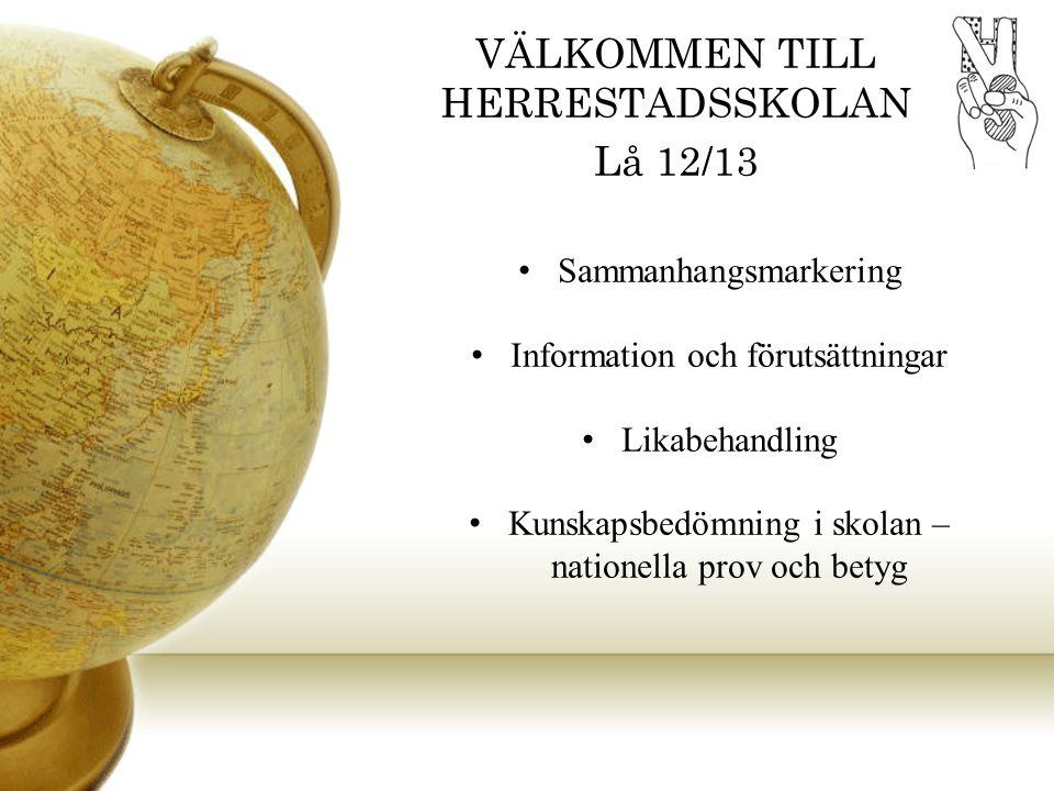 VÄLKOMMEN TILL HERRESTADSSKOLAN Lå 12/13 Sammanhangsmarkering Information och förutsättningar Likabehandling Kunskapsbedömning i skolan – nationella p