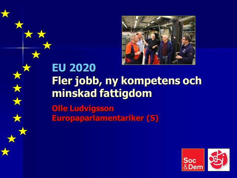 EU 2020 Fler jobb, ny kompetens och minskad fattigdom Olle Ludvigsson Europaparlamentariker (S)