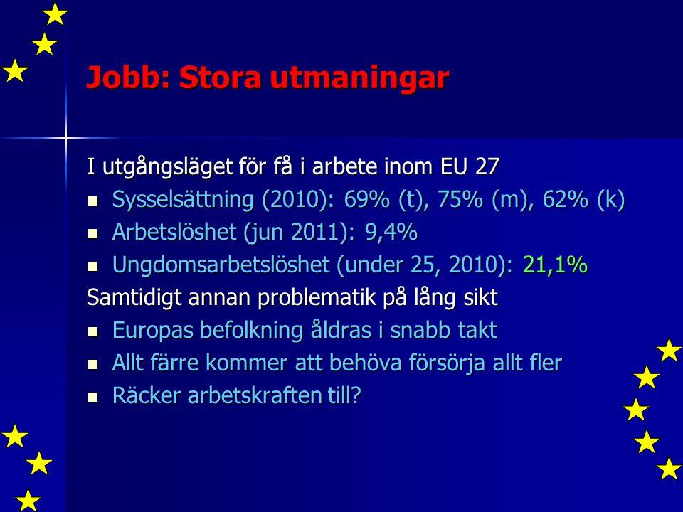 Jobb: Stora utmaningar I utgångsläget för få i arbete inom EU 27 Sysselsättning (2010): 69% (t), 75% (m), 62% (k) Sysselsättning (2010): 69% (t), 75% (m), 62% (k) Arbetslöshet (jun 2011): 9,4% Arbetslöshet (jun 2011): 9,4% Ungdomsarbetslöshet (under 25, 2010): 21,1% Ungdomsarbetslöshet (under 25, 2010): 21,1% Samtidigt annan problematik på lång sikt Europas befolkning åldras i snabb takt Europas befolkning åldras i snabb takt Allt färre kommer att behöva försörja allt fler Allt färre kommer att behöva försörja allt fler Räcker arbetskraften till.