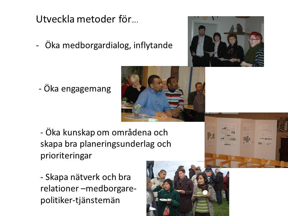 -Öka medborgardialog, inflytande - Öka engagemang - Öka kunskap om områdena och skapa bra planeringsunderlag och prioriteringar - Skapa nätverk och bra relationer –medborgare- politiker-tjänstemän Utveckla metoder för ….