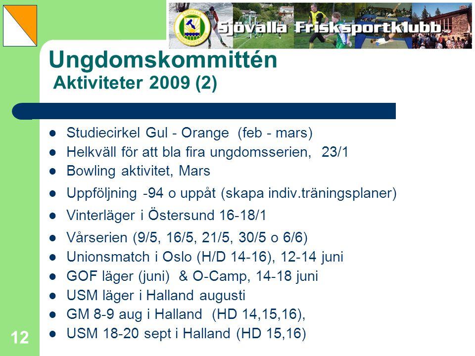 12 Ungdomskommittén Aktiviteter 2009 (2) Studiecirkel Gul - Orange (feb - mars) Helkväll för att bla fira ungdomsserien, 23/1 Bowling aktivitet, Mars