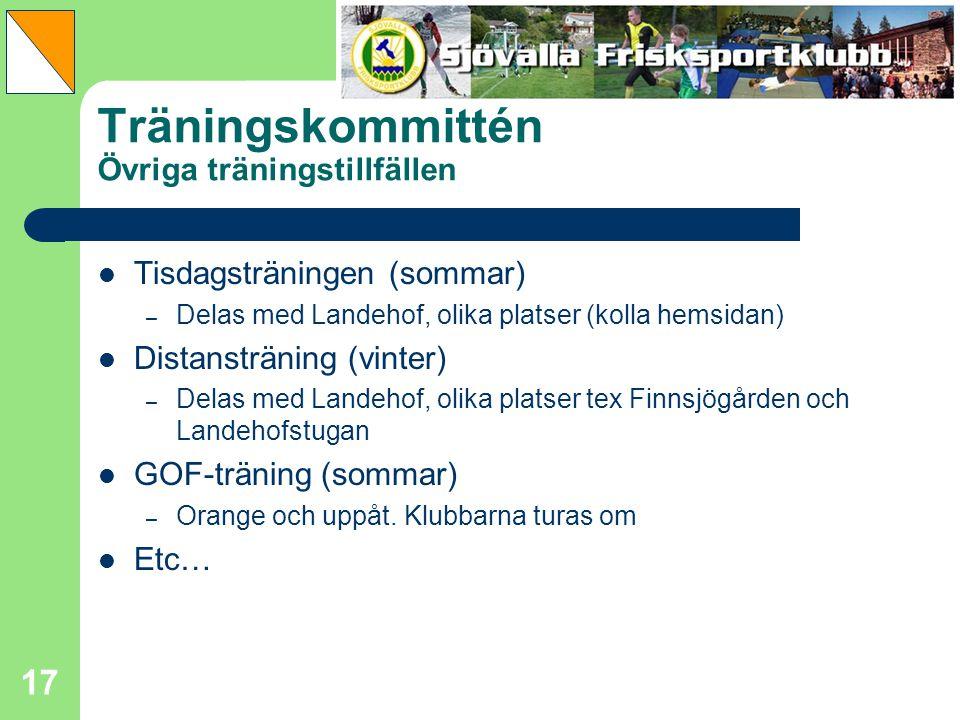 17 Träningskommittén Övriga träningstillfällen Tisdagsträningen (sommar) – Delas med Landehof, olika platser (kolla hemsidan) Distansträning (vinter)