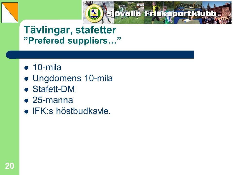 "20 Tävlingar, stafetter ""Prefered suppliers…"" 10-mila Ungdomens 10-mila Stafett-DM 25-manna IFK:s höstbudkavle."