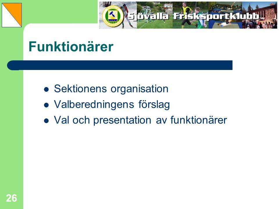 26 Funktionärer Sektionens organisation Valberedningens förslag Val och presentation av funktionärer