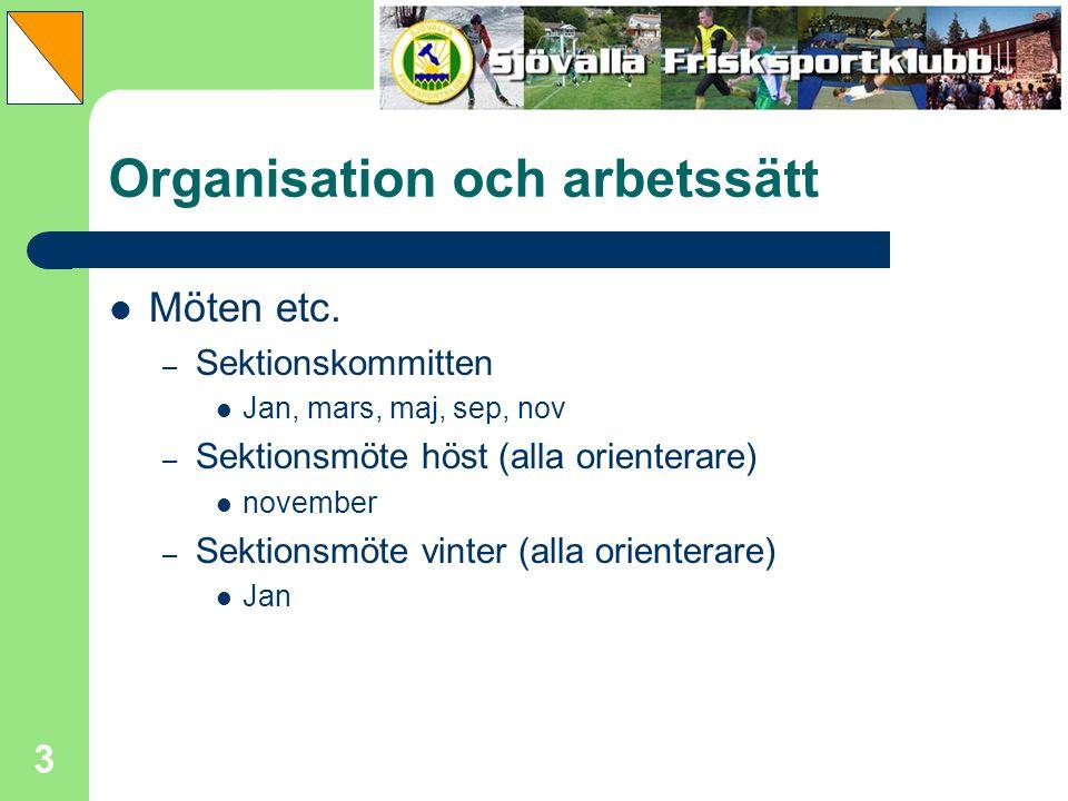 3 Organisation och arbetssätt Möten etc. – Sektionskommitten Jan, mars, maj, sep, nov – Sektionsmöte höst (alla orienterare) november – Sektionsmöte v