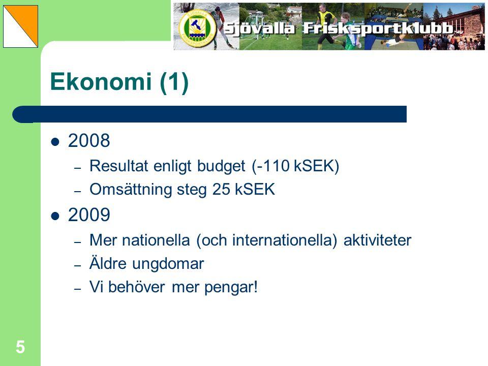 5 Ekonomi (1) 2008 – Resultat enligt budget (-110 kSEK) – Omsättning steg 25 kSEK 2009 – Mer nationella (och internationella) aktiviteter – Äldre ungd