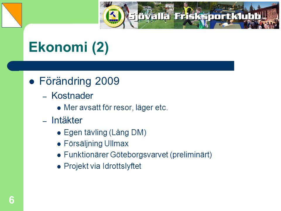 6 Ekonomi (2) Förändring 2009 – Kostnader Mer avsatt för resor, läger etc. – Intäkter Egen tävling (Lång DM) Försäljning Ullmax Funktionärer Göteborgs