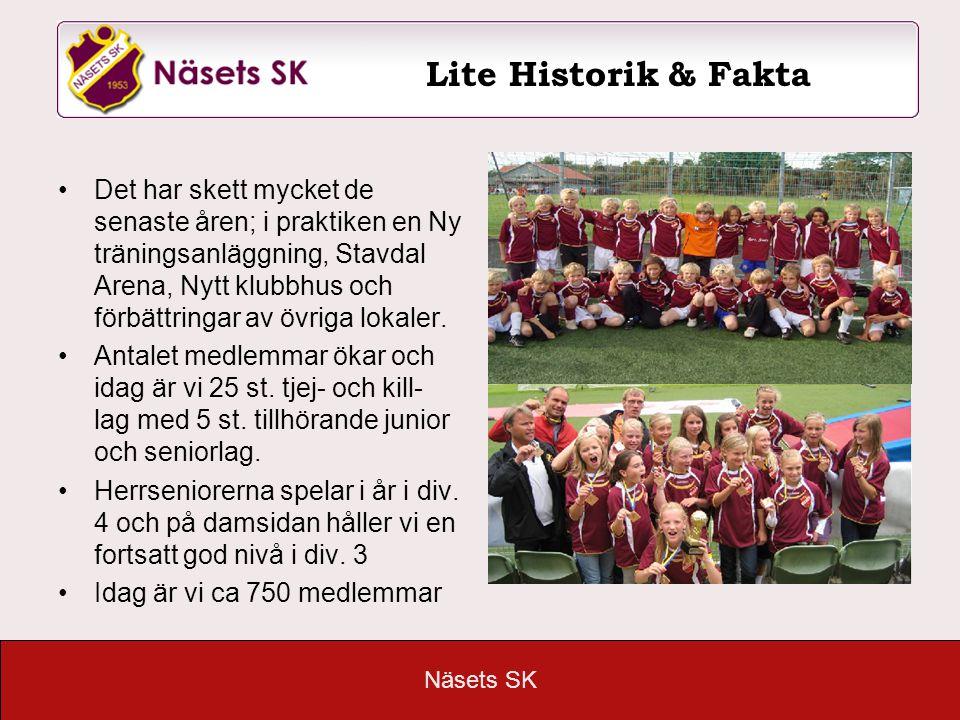 Näsets SK Det har skett mycket de senaste åren; i praktiken en Ny träningsanläggning, Stavdal Arena, Nytt klubbhus och förbättringar av övriga lokaler