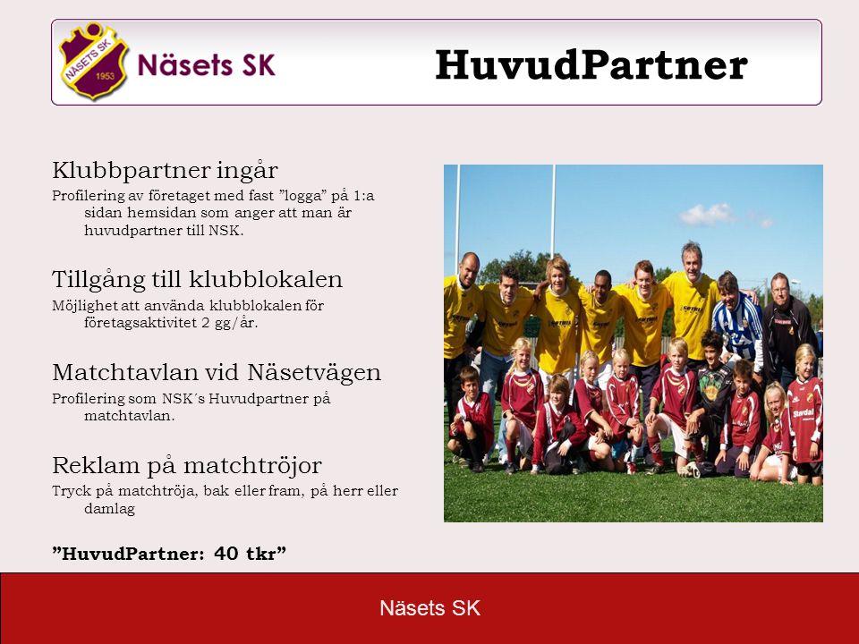 """Näsets SK HuvudPartner Klubbpartner ingår Profilering av företaget med fast """"logga"""" på 1:a sidan hemsidan som anger att man är huvudpartner till NSK."""