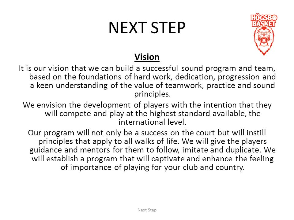Principles -The program will be based on understanding effectiveness through hard work, dedication and the pursuit of excellence.