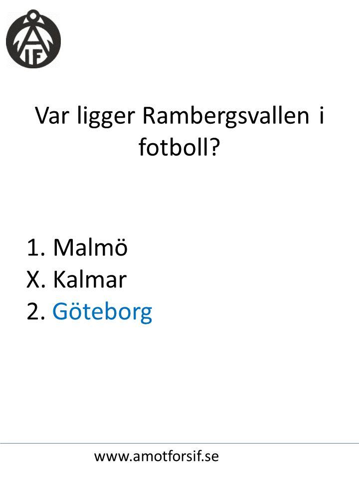 Var ligger Rambergsvallen i fotboll 1. Malmö X. Kalmar 2. Göteborg www.amotforsif.se