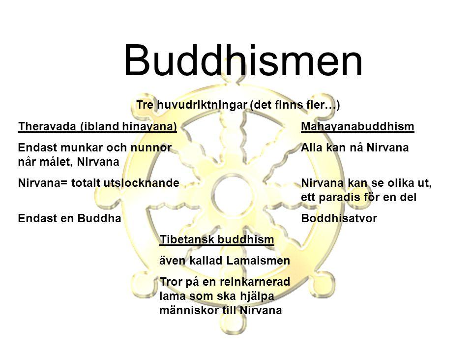 Tre huvudriktningar (det finns fler…) Theravada (ibland hinayana)Mahayanabuddhism Endast munkar och nunnorAlla kan nå Nirvana når målet, Nirvana Nirva