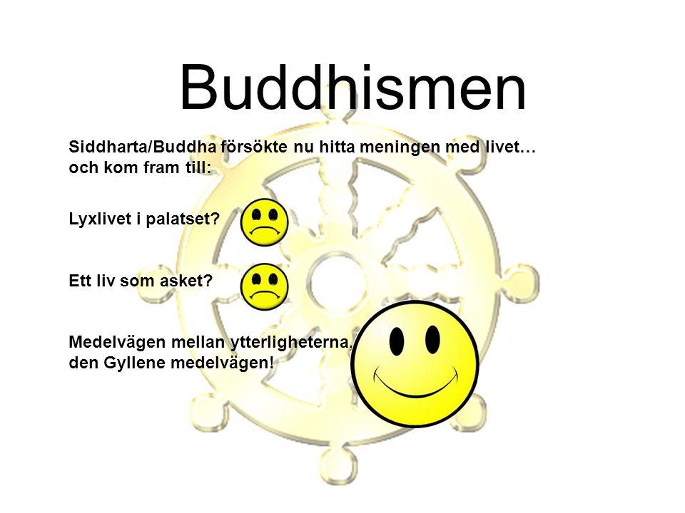 Buddhismen Siddharta/Buddha försökte nu hitta meningen med livet… och kom fram till: Lyxlivet i palatset? Ett liv som asket? Medelvägen mellan ytterli