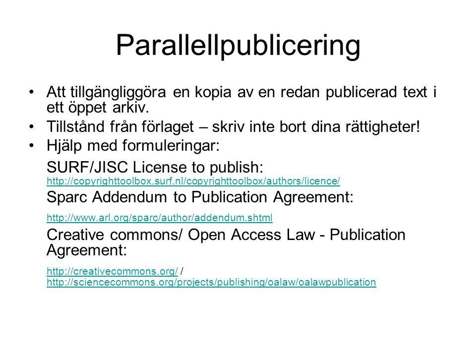 Parallellpublicering Att tillgängliggöra en kopia av en redan publicerad text i ett öppet arkiv. Tillstånd från förlaget – skriv inte bort dina rättig