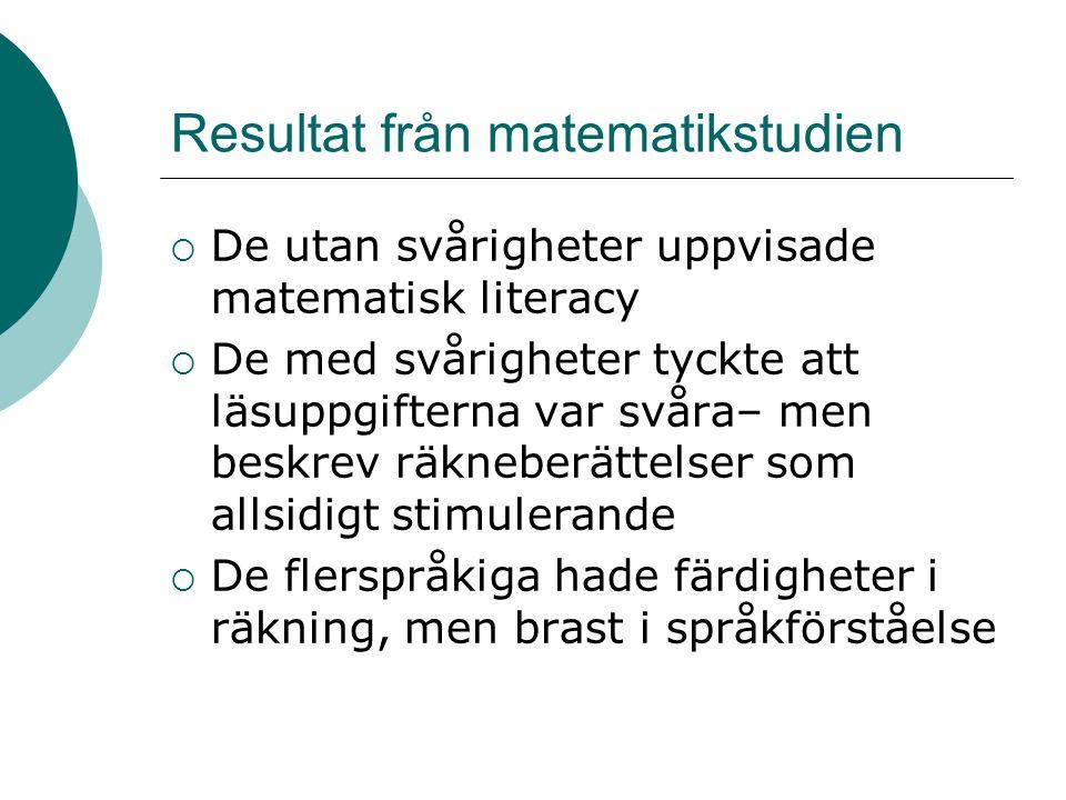 Resultat från matematikstudien  De utan svårigheter uppvisade matematisk literacy  De med svårigheter tyckte att läsuppgifterna var svåra– men beskr