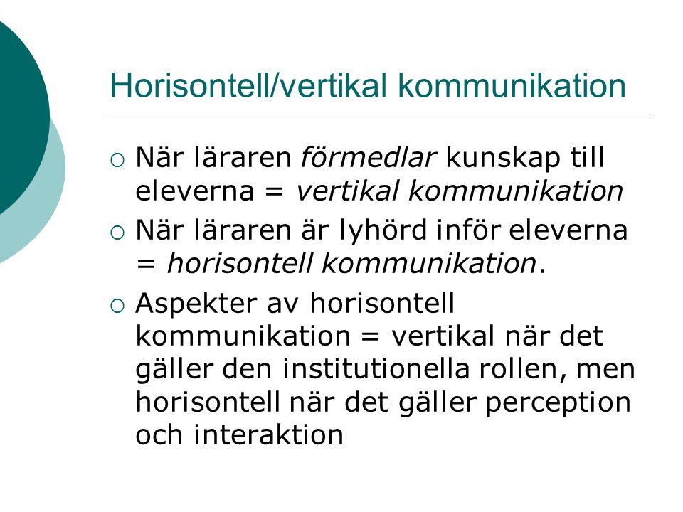 Horisontell/vertikal kommunikation  När läraren förmedlar kunskap till eleverna = vertikal kommunikation  När läraren är lyhörd inför eleverna = hor