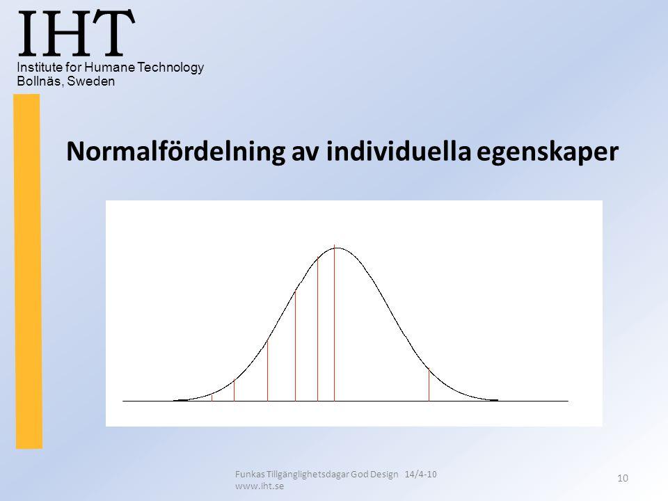 Institute for Humane Technology Bollnäs, Sweden IHT Funkas Tillgänglighetsdagar God Design 14/4-10 www.iht.se 10 Normalfördelning av individuella egen