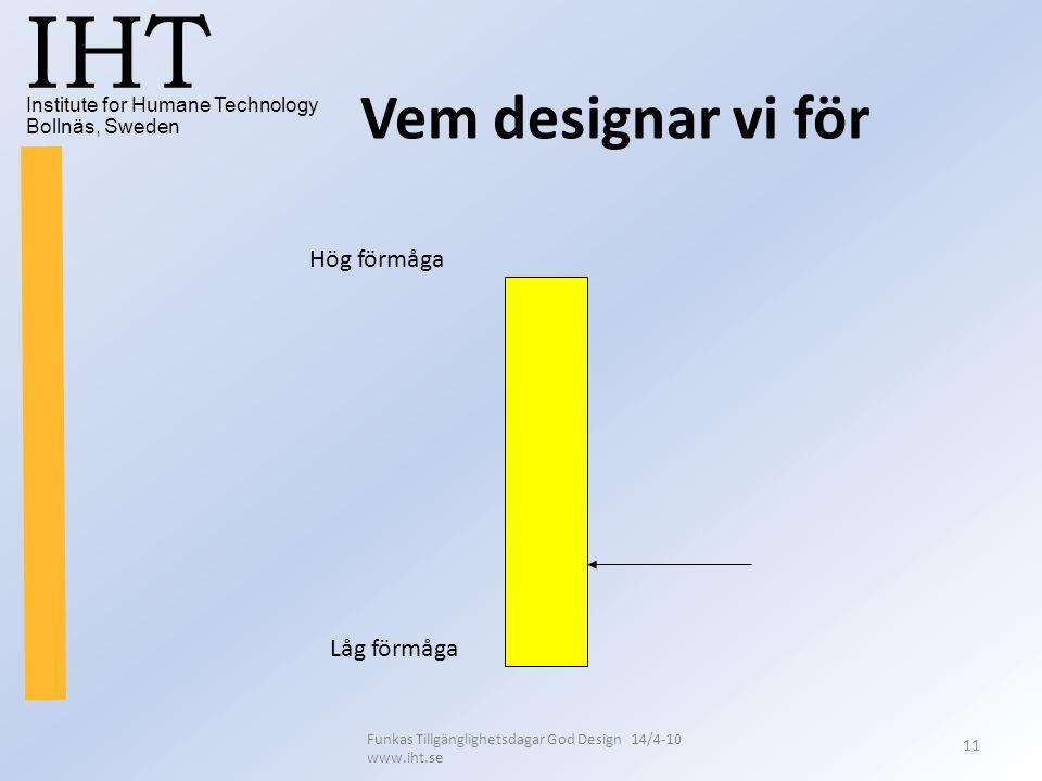 Institute for Humane Technology Bollnäs, Sweden IHT Funkas Tillgänglighetsdagar God Design 14/4-10 www.iht.se 11 Vem designar vi för Hög förmåga Låg f