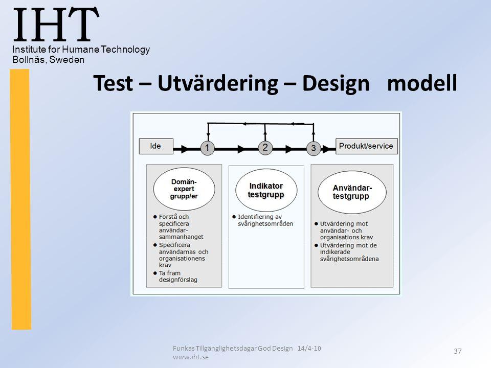 Institute for Humane Technology Bollnäs, Sweden IHT Funkas Tillgänglighetsdagar God Design 14/4-10 www.iht.se 37 Test – Utvärdering – Design modell