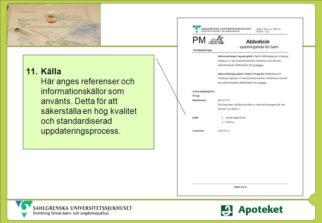 11.Källa Här anges referenser och informationskällor som använts. Detta för att säkerställa en hög kvalitet och standardiserad uppdateringsprocess.