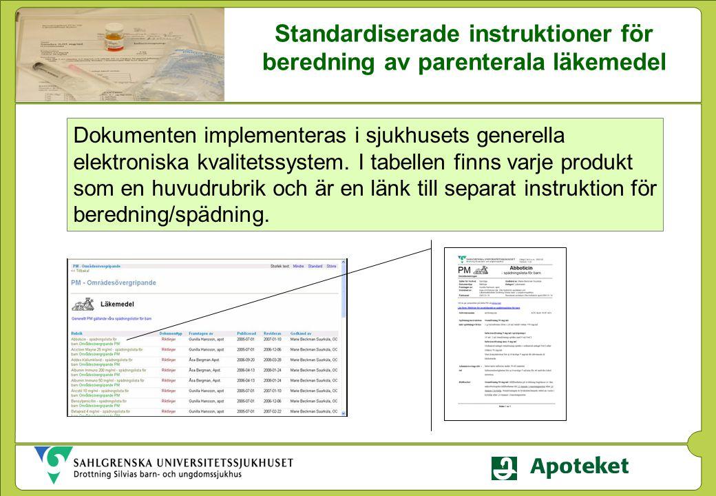Dokumenten implementeras i sjukhusets generella elektroniska kvalitetssystem. I tabellen finns varje produkt som en huvudrubrik och är en länk till se