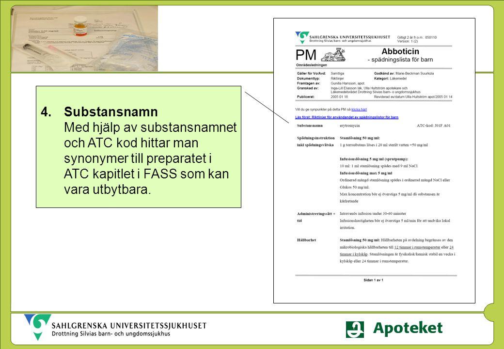 4.Substansnamn Med hjälp av substansnamnet och ATC kod hittar man synonymer till preparatet i ATC kapitlet i FASS som kan vara utbytbara.
