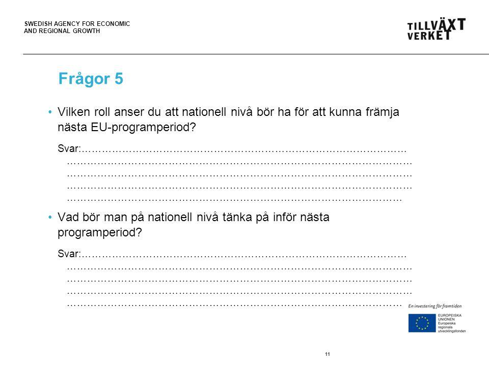 SWEDISH AGENCY FOR ECONOMIC AND REGIONAL GROWTH 11 Frågor 5 Vilken roll anser du att nationell nivå bör ha för att kunna främja nästa EU-programperiod