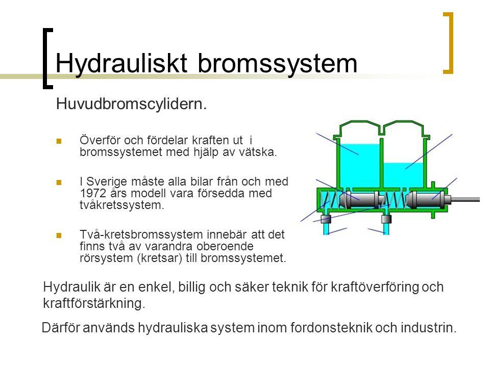 Hydrauliskt bromssystem Huvudbromscylidern. Överför och fördelar kraften ut i bromssystemet med hjälp av vätska. I Sverige måste alla bilar från och m