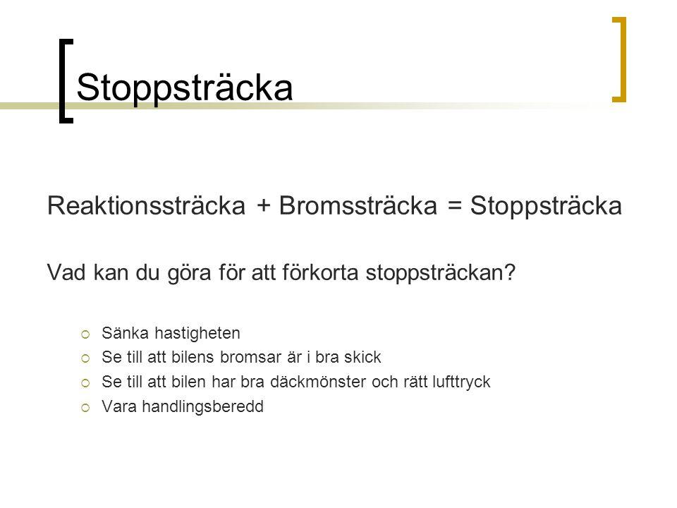 Stoppsträcka Reaktionssträcka + Bromssträcka = Stoppsträcka Vad kan du göra för att förkorta stoppsträckan?  Sänka hastigheten  Se till att bilens b