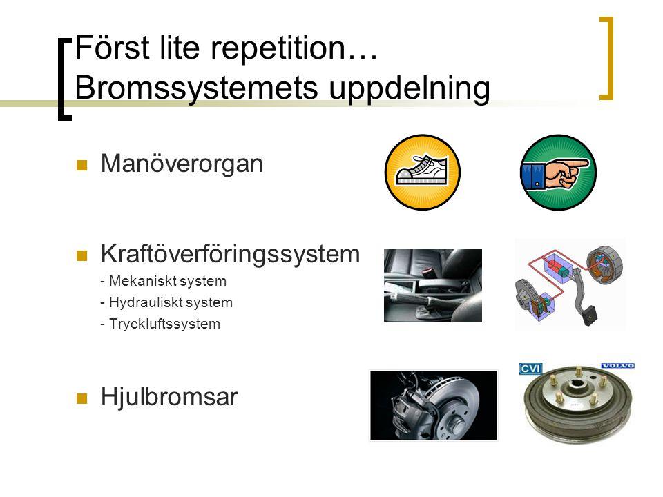 Först lite repetition… Bromssystemets uppdelning Manöverorgan Kraftöverföringssystem - Mekaniskt system - Hydrauliskt system - Tryckluftssystem Hjulbr