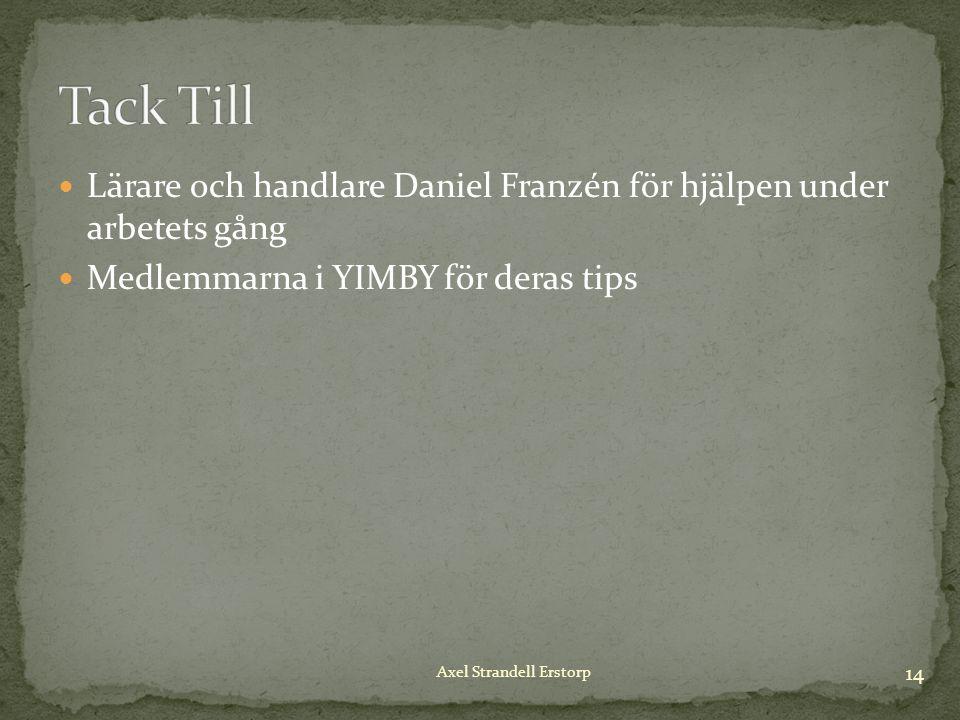 Lärare och handlare Daniel Franzén för hjälpen under arbetets gång Medlemmarna i YIMBY för deras tips 14 Axel Strandell Erstorp