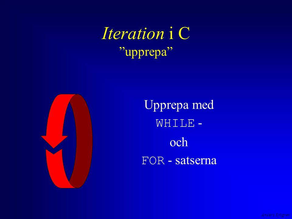 Anders Sjögren Iteration i C exempel #include #define DELAY 1000000L int main( void ){ long i; while ( 1==1 ) { printf( A ); for ( i=1; i < DELAY ; i++ ) ; printf( \tn ); for ( i=1; i < DELAY ; i++ ) ; printf( \td ); for ( i=1; i < DELAY ; i++ ) ; printf( \te ); for ( i=1; i < DELAY ; i++ ) ; printf( \tr ); for ( i=1; i < DELAY ; i++ ) ; printf( \ts ); for ( i=1; i < DELAY ; i++ ) ; printf( \r \t \t \t \t \t \r ); for ( i=1; i < DELAY ; i++ ) ; } return 0; } loop i loopen ger nästlad loop.