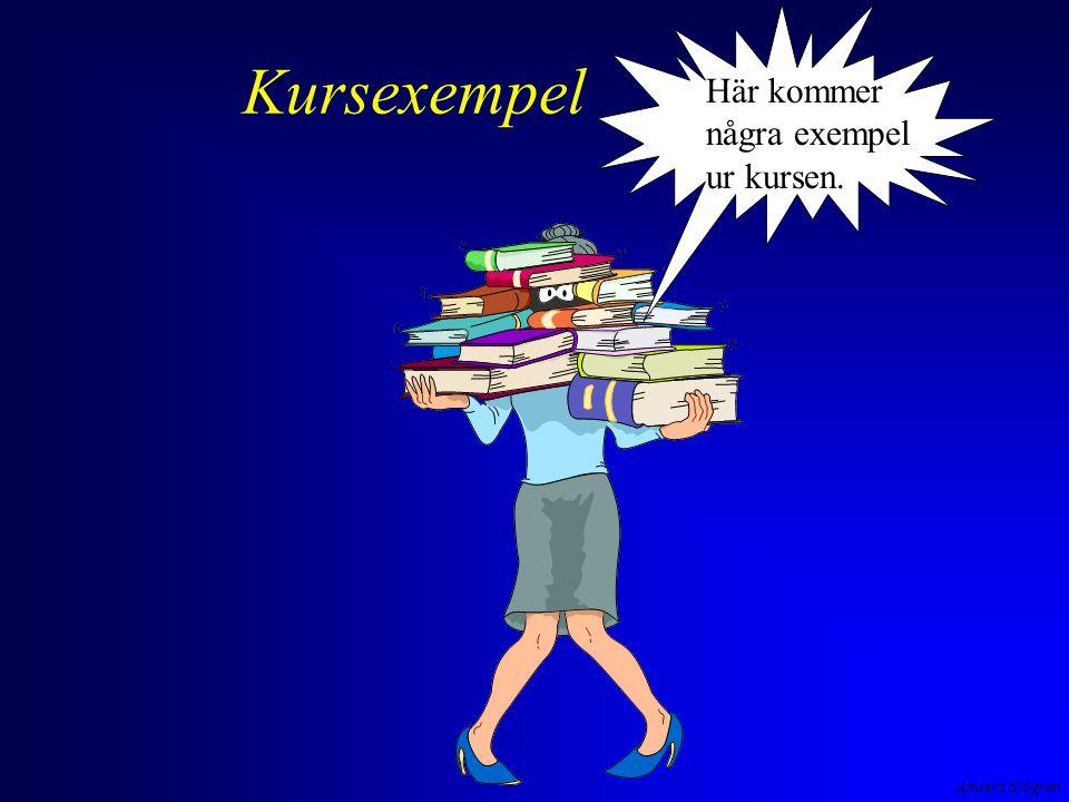 Anders Sjögren Kursexempel Här kommer några exempel ur kursen.
