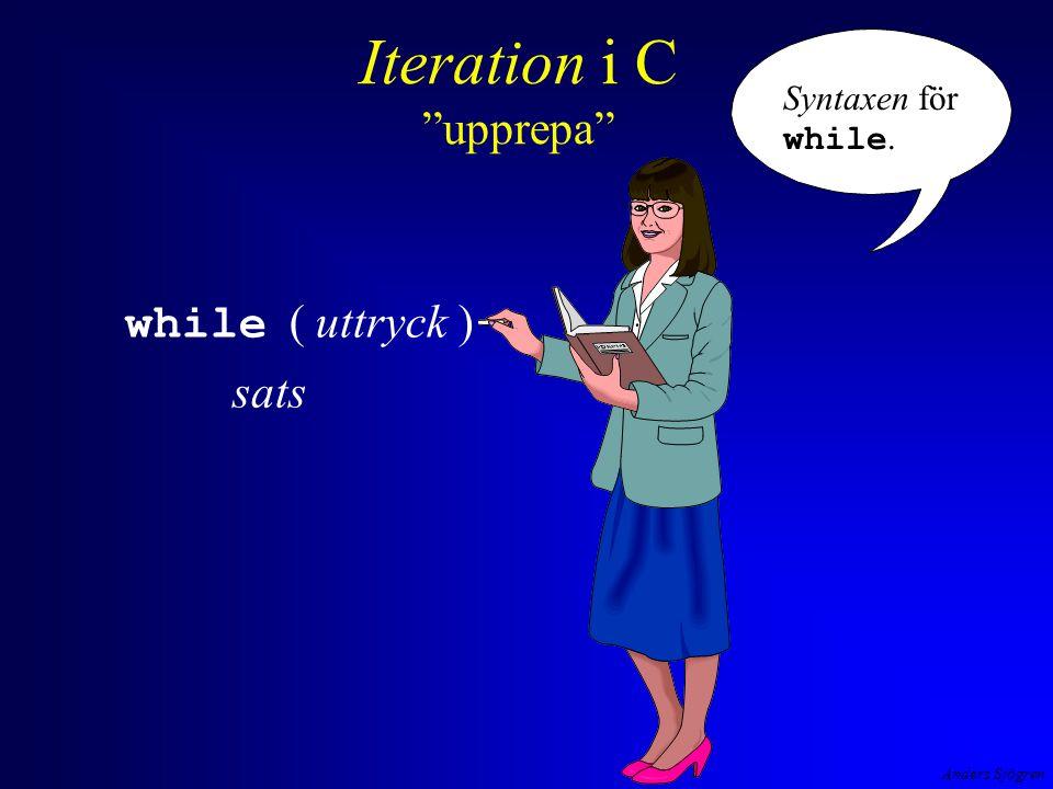 Anders Sjögren Iteration i C exempel #include #define DELAY 1000000L int main( void ){ long i; while ( 1==1 ) { printf( A ); for ( i=1; i < DELAY ; i++ ) ; printf( \tn ); for ( i=1; i < DELAY ; i++ ) ; printf( \td ); for ( i=1; i < DELAY ; i++ ) ; printf( \te ); for ( i=1; i < DELAY ; i++ ) ; printf( \tr ); for ( i=1; i < DELAY ; i++ ) ; printf( \ts ); for ( i=1; i < DELAY ; i++ ) ; printf( \r \t \t \t \t \t \r ); for ( i=1; i < DELAY ; i++ ) ; } return 0; } en tom sats, for - satsens uppgift är endast att fördröja visningstiden.