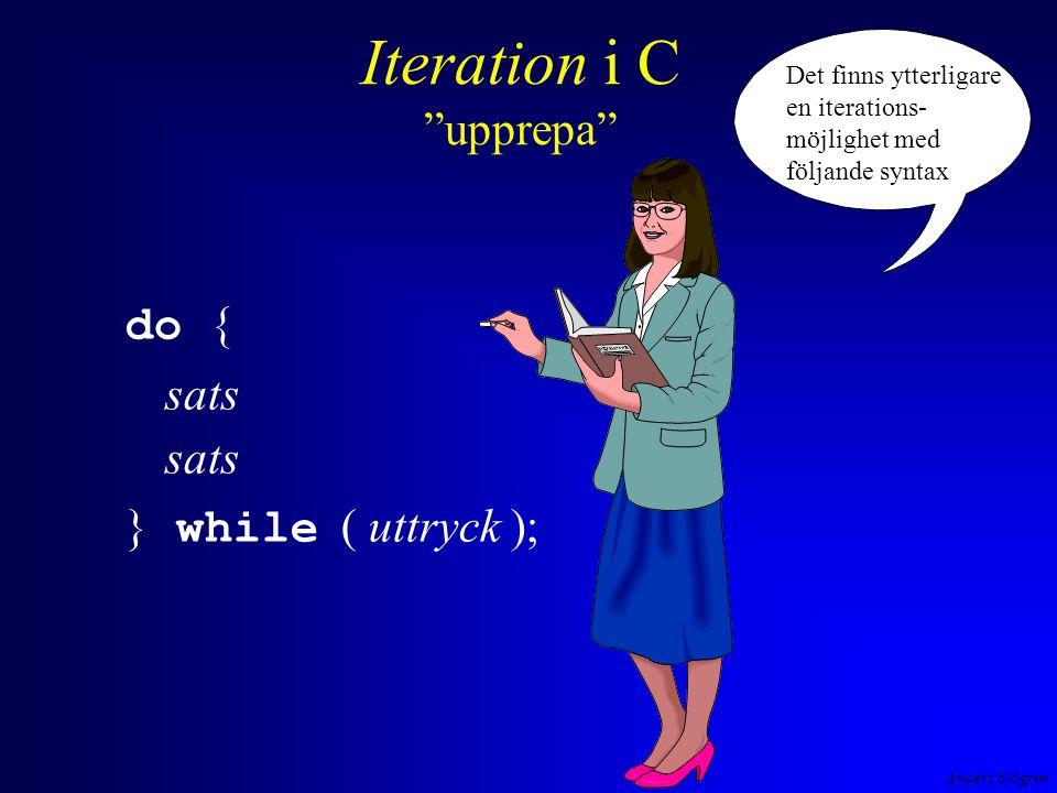 Anders Sjögren Iteration i C upprepa do { sats } while ( uttryck ); Det finns ytterligare en iterations- möjlighet med följande syntax