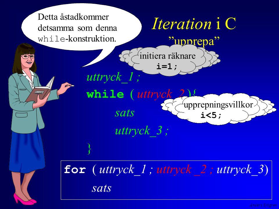 Anders Sjögren Iteration i C upprepa for ( uttryck_1 ; uttryck _2 ; uttryck_3) sats Detta åstadkommer detsamma som denna while -konstruktion.