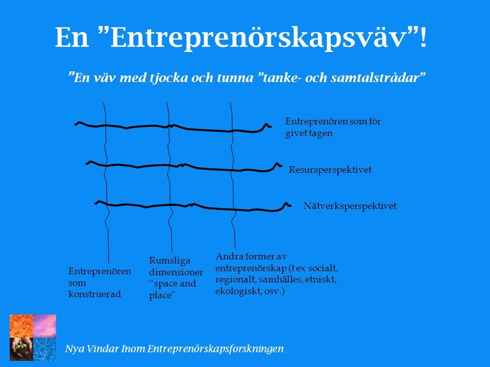 Entreprenören som konstruerad Andra former av entreprenörskap (t ex socialt, regionalt, samhälles, etniskt, ekologiskt, osv.) Entreprenören som för givet tagen Resursperspektivet Nätverksperspektivet Rumsliga dimensioner space and place Entreprenörskapsväven Nya Vindar Inom Entreprenörskapsforskningen