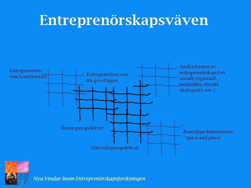 En gemensam tankefigur för samtalen om entreprenörskap Entreprenörskap ses som vår tids skapelseberättelse, vilket ger Entreprenören positionen som vår tids skapare.