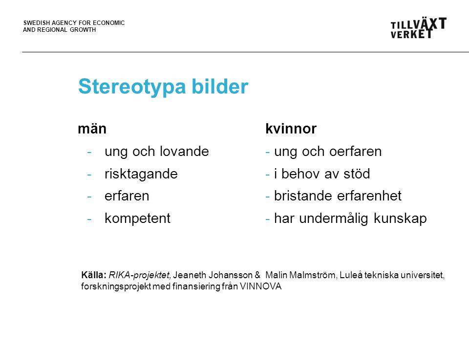SWEDISH AGENCY FOR ECONOMIC AND REGIONAL GROWTH Stereotypa bilder mänkvinnor -ung och lovande- ung och oerfaren -risktagande - i behov av stöd -erfare