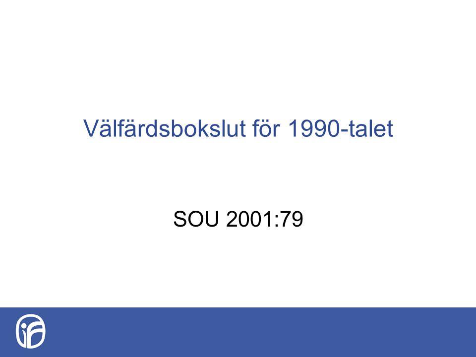 Välfärdsbokslut för 1990-talet SOU 2001:79