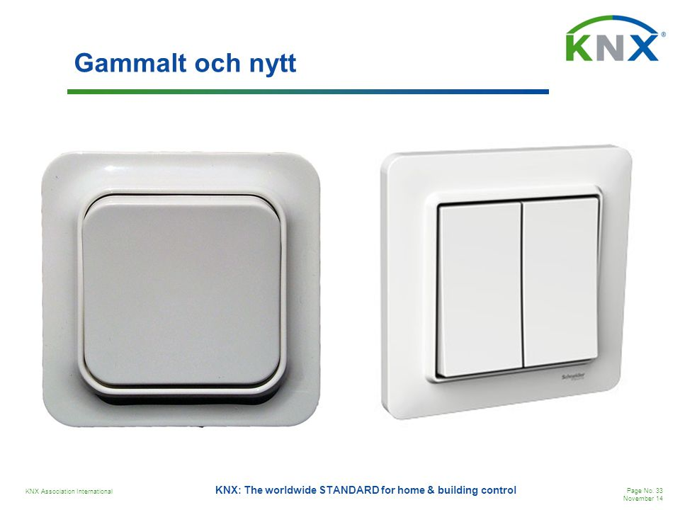 KNX Association International Page No. 33 November 14 KNX: The worldwide STANDARD for home & building control Gammalt och nytt