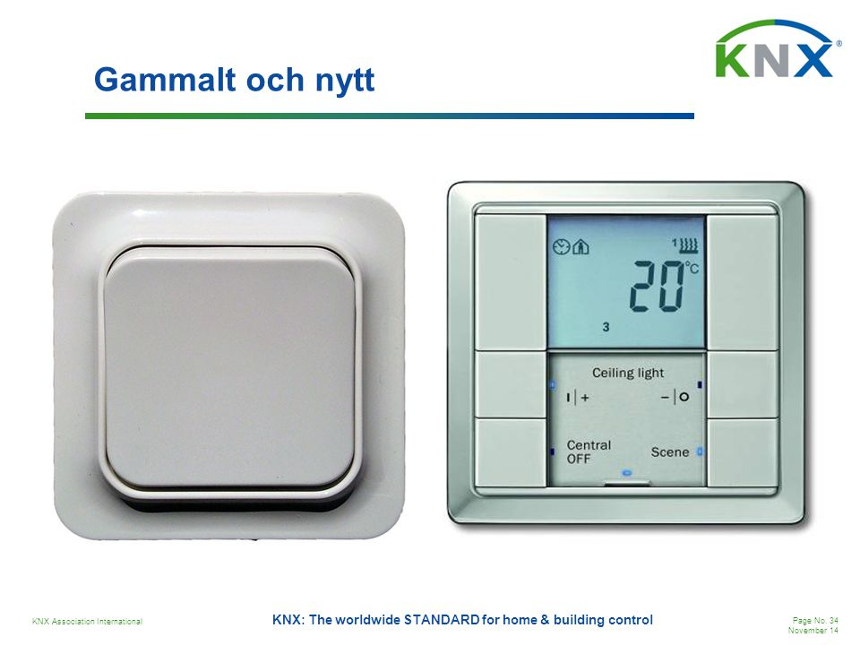KNX Association International Page No. 34 November 14 KNX: The worldwide STANDARD for home & building control Gammalt och nytt