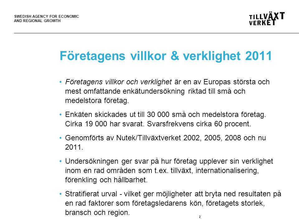SWEDISH AGENCY FOR ECONOMIC AND REGIONAL GROWTH 2 Företagens villkor & verklighet 2011 Företagens villkor och verklighet är en av Europas största och mest omfattande enkätundersökning riktad till små och medelstora företag.