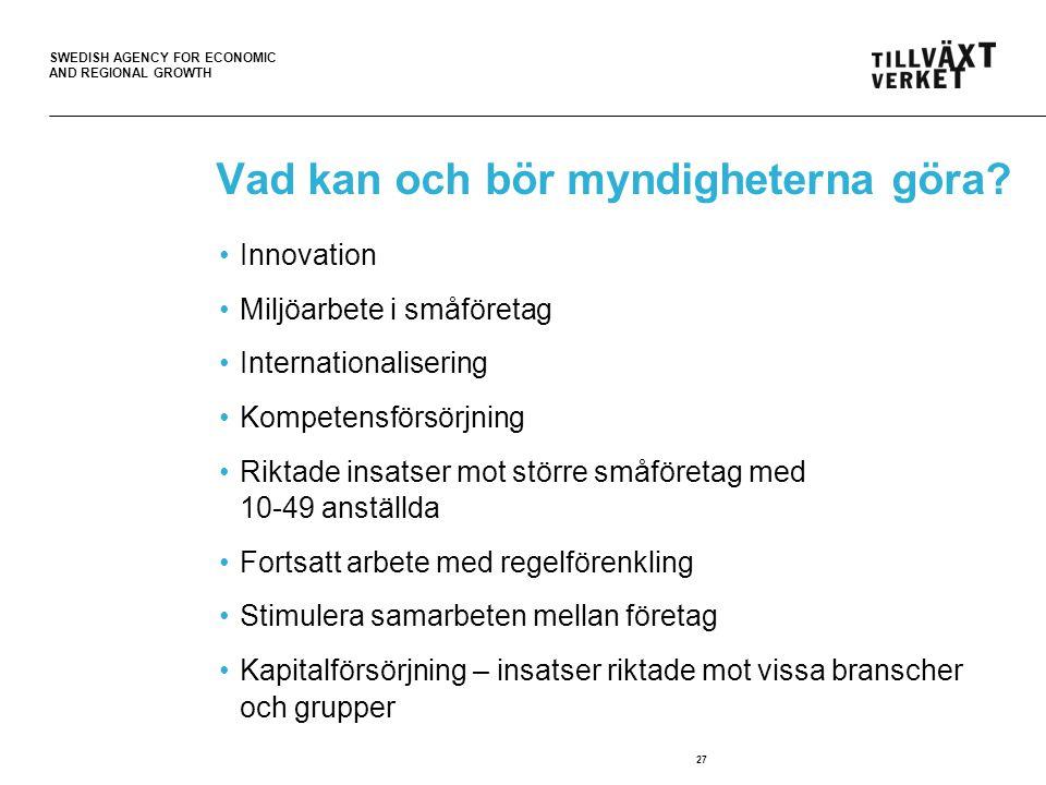 SWEDISH AGENCY FOR ECONOMIC AND REGIONAL GROWTH 27 Vad kan och bör myndigheterna göra? Innovation Miljöarbete i småföretag Internationalisering Kompet