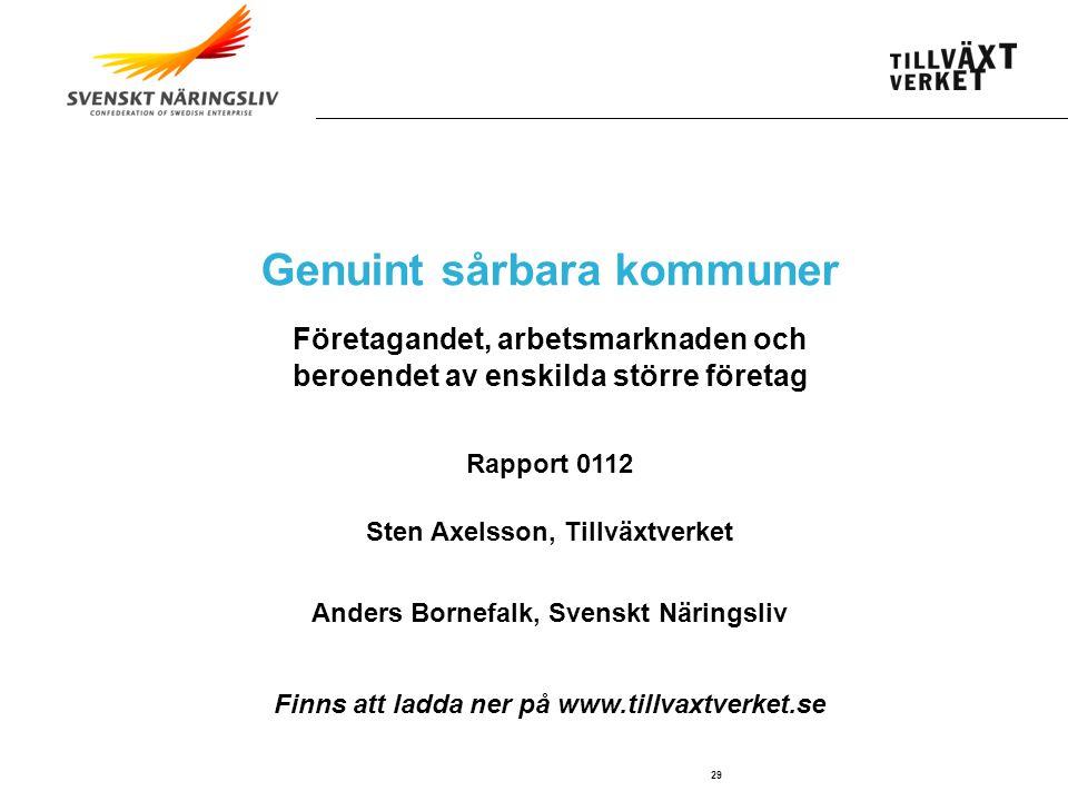 SWEDISH AGENCY FOR ECONOMIC AND REGIONAL GROWTH 29 Genuint sårbara kommuner Företagandet, arbetsmarknaden och beroendet av enskilda större företag Rap